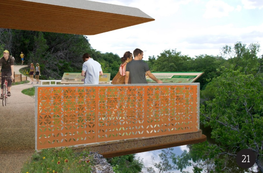 The Heritage Trail West project includes a pedestrian overlook at Memorial Park. A spiral ramp will lead to the top of a bluff with views of Brushy Creek. (Rendering courtesy city of Round Rock)