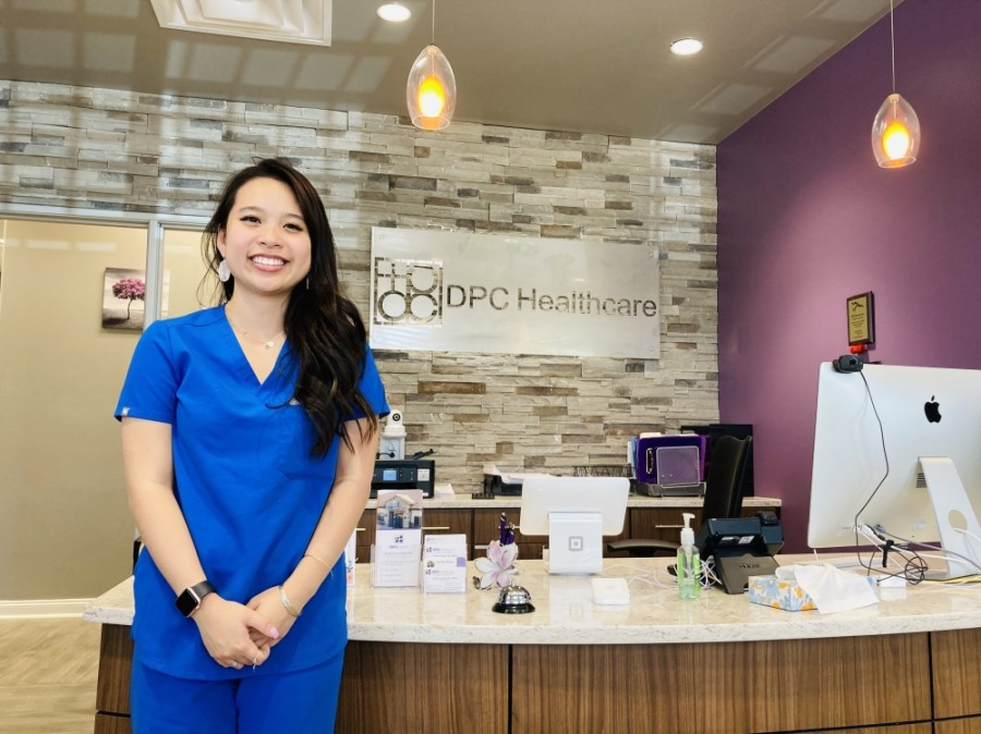 According to administrator Lan Pham, patients at DPC Healthcare have options for remote or in-office care. (Ian Pribanic/Community Impact Newspaper)