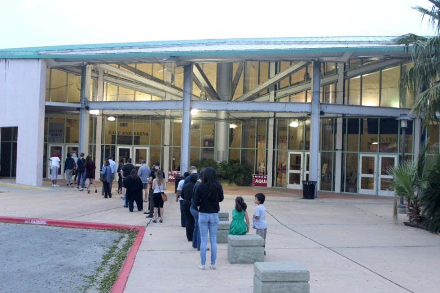 Voters line up at the Millennium Youth Entertainment Complex on primary election day March 3. (Jack Flagler/Community Impact Newspaper)