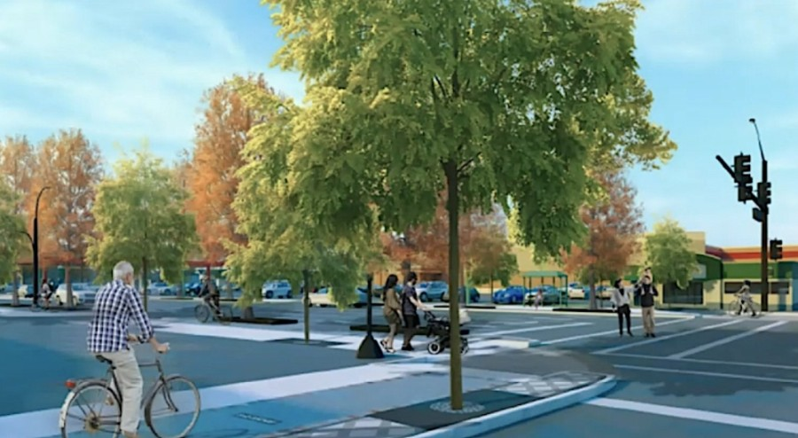 A rendering shows an updated streetscape envisioned with the reconstruction of Shepherd and Durham drives inside the Loop. (Courtesy Memorial Heights TIRZ)