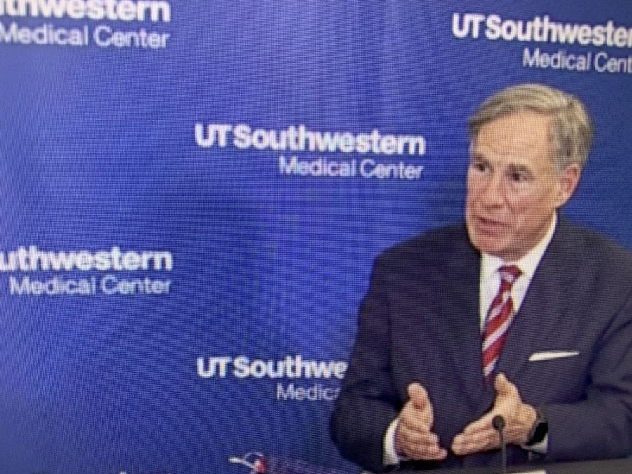Gov. Greg Abbott was part of a press conference at UT Southwestern Medical Center. (Community Impact Newspaper)
