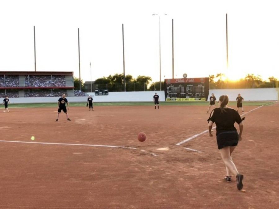 Adults participate in a kickball recreation program at Cactus Yards. (Courtesy Town of Gilbert)