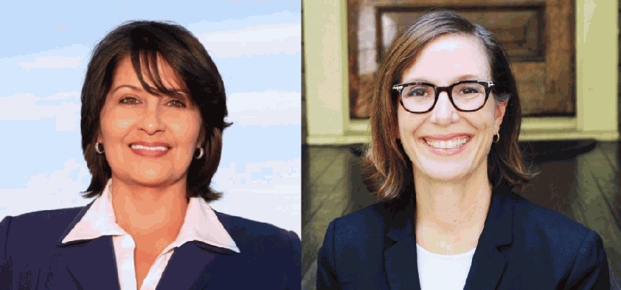 Penny Morales Shaw (left) and Rep. Anna Eastman (right) are facing off for the third time since November 2019 for the Texas House District 148 representing parts of North Houston and the Heights. (Screenshot via Community Impact staff)