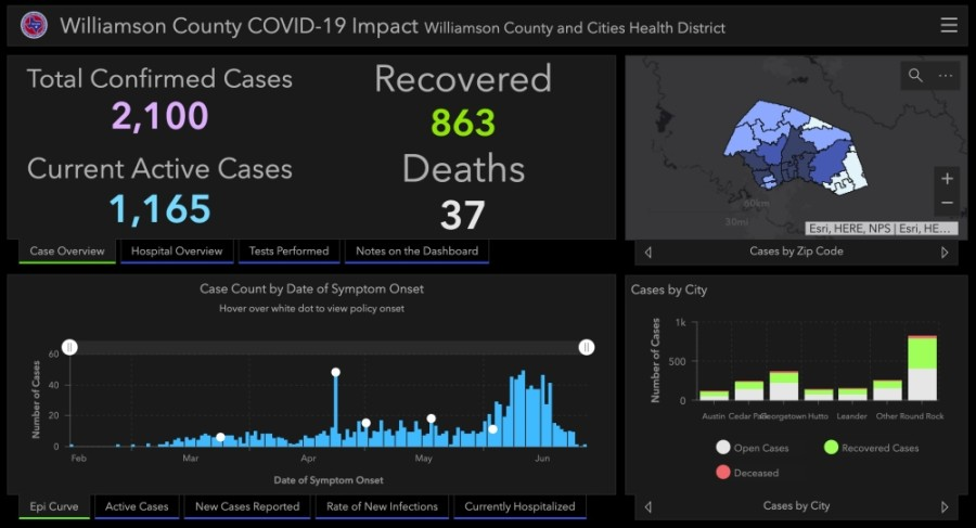 Williamson County reported 400 additional cases and three additional deaths between June 26-29. (Screenshot courtesy Williamson County)