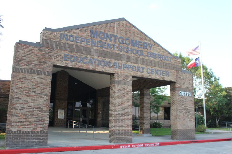 The Montgomery ISD board of trustees met June 30. Attendees were spaced apart to maintain social distance. (Eva Vigh/Community Impact Newspaper)