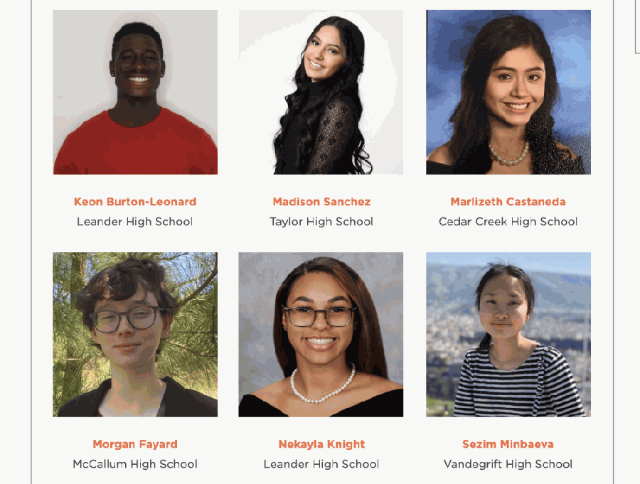 Leander High School students Keon Burton-Leonard (upper left) and Nekayla Knight (lower middle), as well as Vandegrift High School's Sezim Minbaeva (lower right), are three of the five Leander ISD students receiving scholarships from the Austin Board of Realtors. (Screenshot courtesy ABoR)