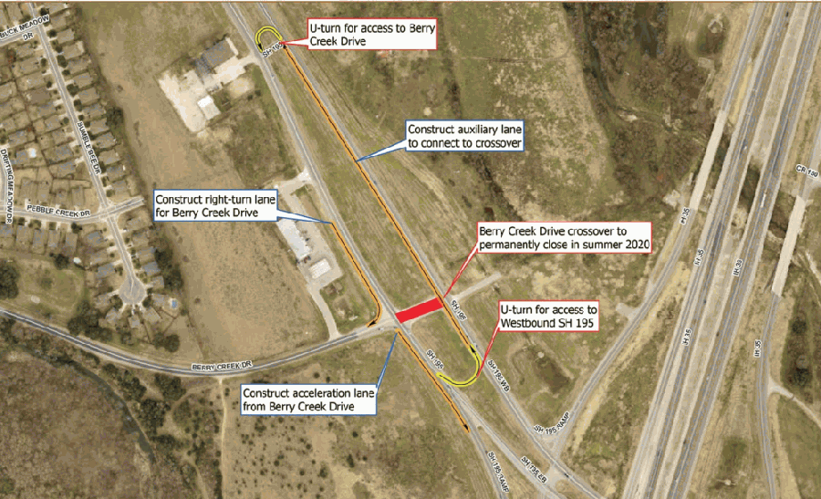 Access to and from Berry Creek Drive on Hwy. 195 is now available via turnarounds at either side of the intersection. (Courtesy city of Georgetown)