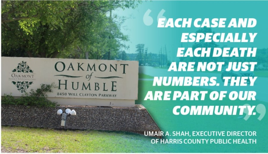 A nursing home in Humble came under scrutiny in June for an outbreak of COVID-19 cases among its elderly residents. (Kelly Schafler/Community Impact Newspaper) (Designed by Ethan Pham)