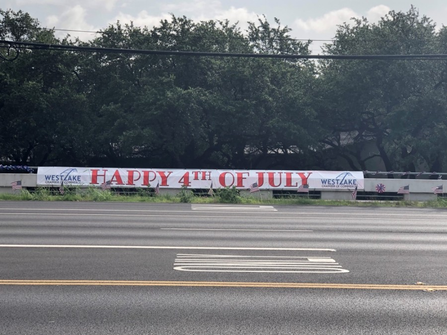 West Lake Hills' Bee Caves Road was decorated for the Fourth of July holiday. (Courtesy Westlake Chamber of Commerce)