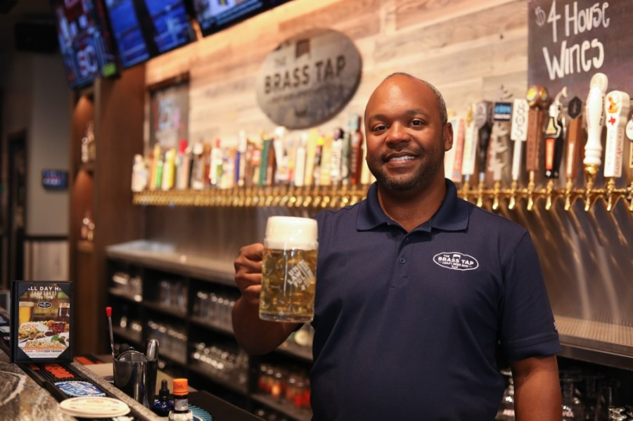 Dale Volley, owner of The Brass Tap, opened the Highland Village location with his wife, Anna, last Memorial Day. (Liesbeth Powers/Community Impact Newspaper)