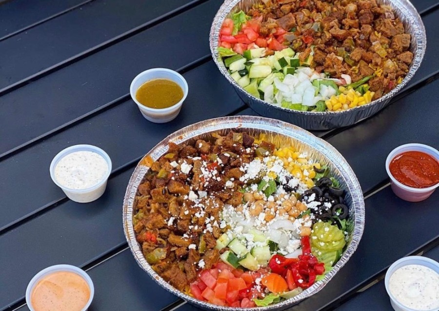 Gyro Hut offers chicken, lamb, shrimp, fish, falafel and chapli kabab served over rice, lettuce or in a pita, topped with vegetables and sauce. (Courtesy Gyro Hut)