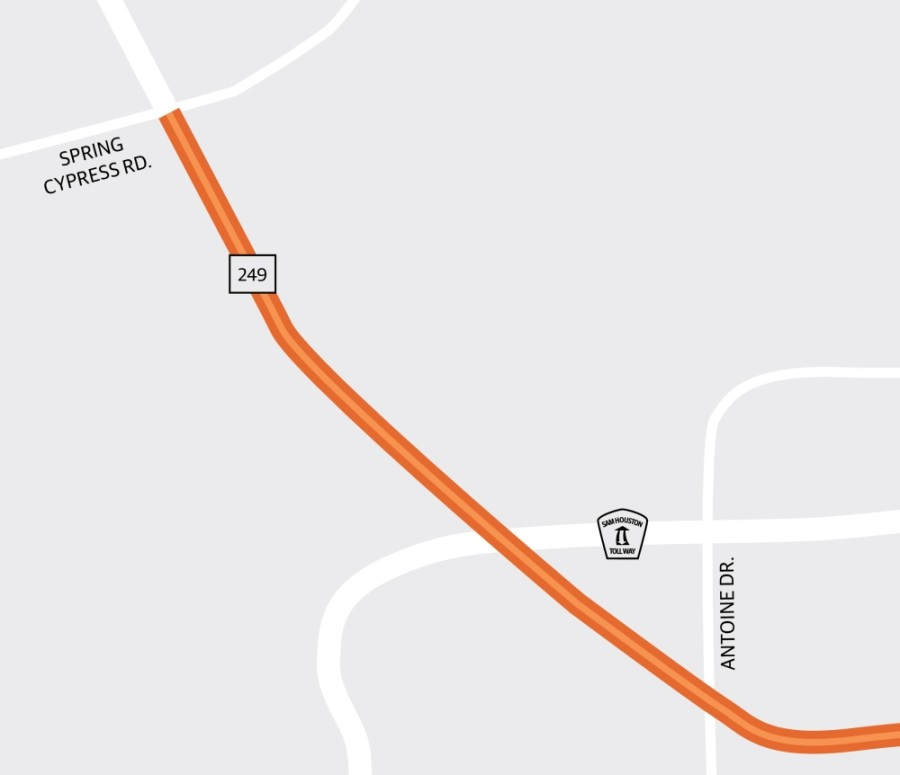 Construction is underway on Congestion Mitigation and Air Quality Phase 2D to improve traffic signals and intersections along Hwy. 249 between Antoine and Spring Cypress roads. (Graphic by Ronald Winters/Community Impact Newspaper)