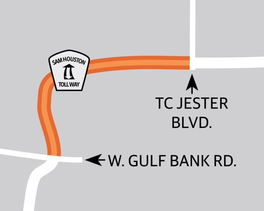 Construction is underway on Congestion Mitigation and Air Quality Phase 2E to improve intersections and modify traffic signals along the Beltway 8 frontage road between West Gulf Bank Road and TC Jester Boulevard. (Graphic by Ronald Winters/Community Impact Newspaper)