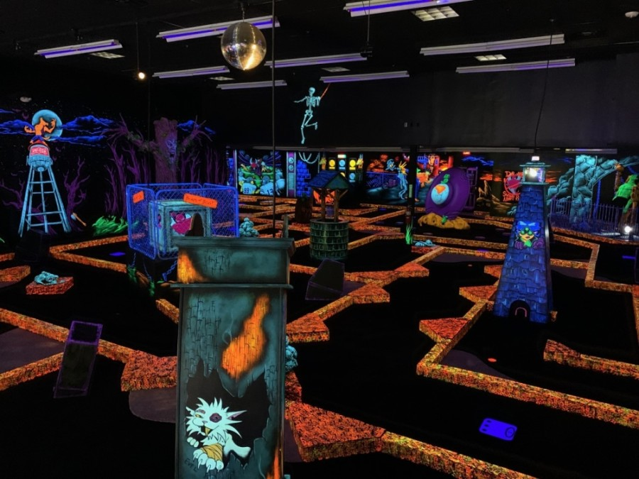 In addition to mini golf, the business offers an arcade, a laser maze and mini bowling. (Courtesy Monster Mini Golf)