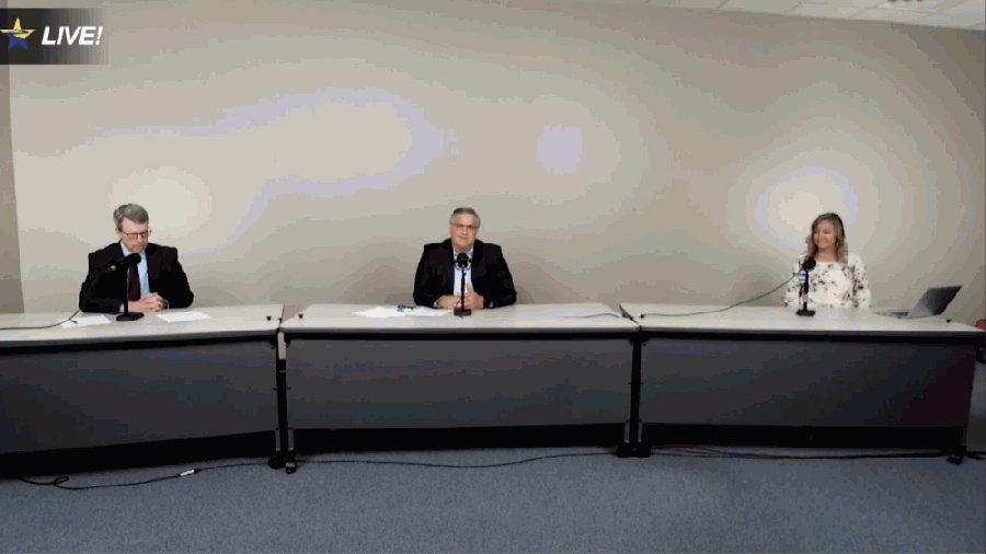 Steven Ebell, Greg Smith and Marina Keeton (from left) updated the Clear Creek ISD community on the district's reopening plans July 9. (Screenshot of livestream)