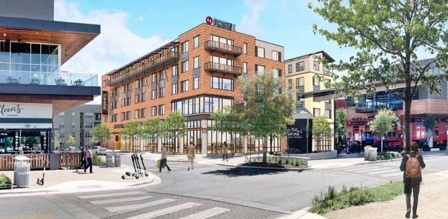 Origin Hotel, located in the Mueller development in East Austin, broke ground July 6. (Rendering courtesy The Thrash Group)