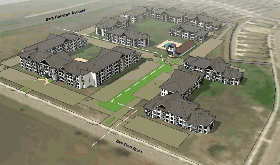 The proposed affordable housing project, pictured, was denied with four council members against it and two for it. (Rendering courtesy city of Georgetown, KCG Development)