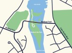 Maintenance work on the Redbud Trail Bridge will commence July 20. (Map rendering courtesy Austin Public Works)