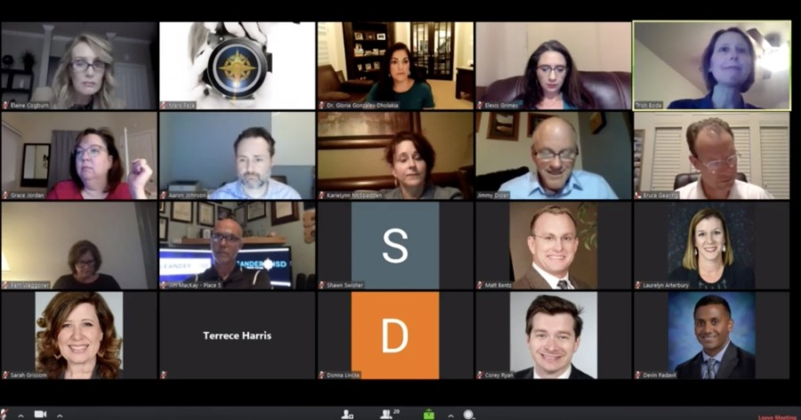 Leander ISD trustees and staff are pictured in this screen grab of a previous online meeting. (Screenshot courtesy LISD)