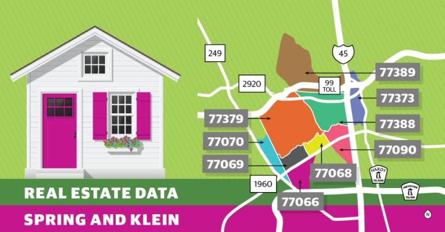 The average home sales price increased year over year in each of the Spring-Klein area's nine ZIP codes. (Graphic by Ronald Winters/Community Impact Newspaper)