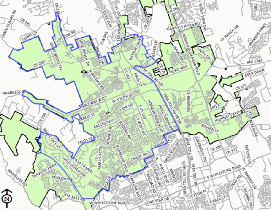 The blue outline indicates areas that have been placed under a boil-water notice, according to Leander spokesperson Mike Neu. (Courtesy city of Leander)