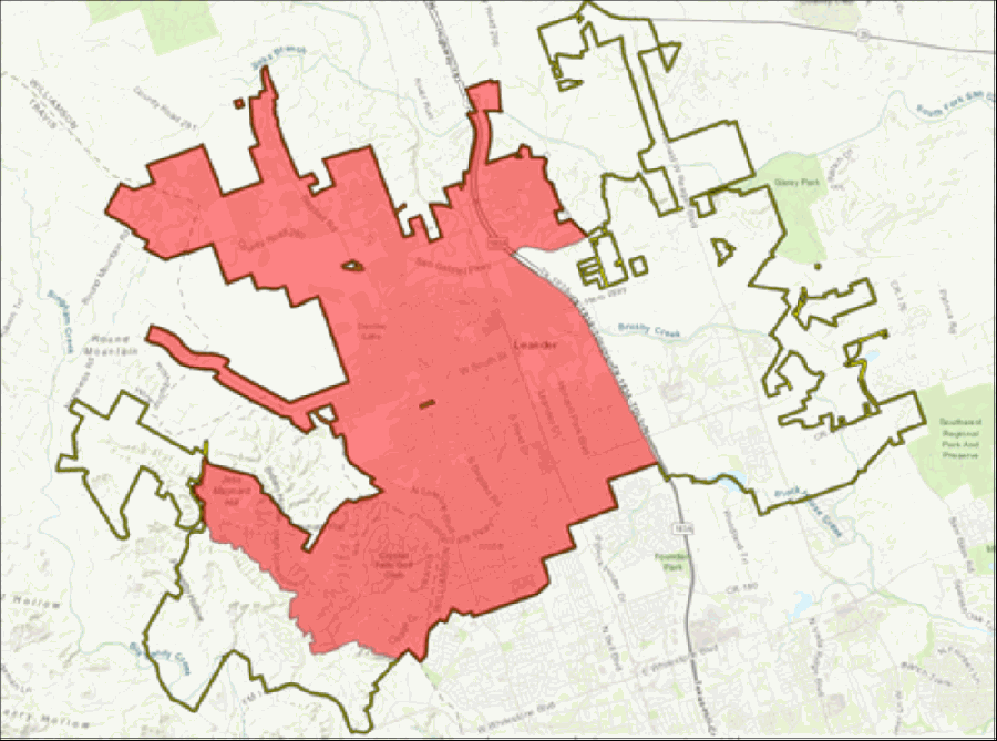 The red area shows the part of Leander under a boil water notice. (Courtesy city of Leander)