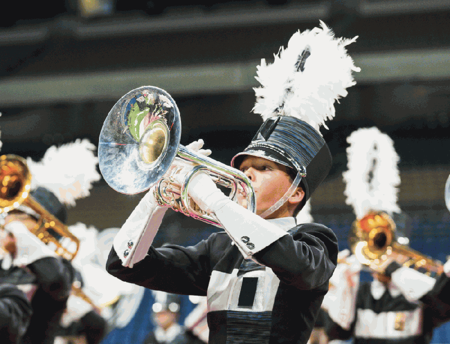 A Glenn High School band member performs during the state marching band competition in November 2019. (Courtesy Leander ISD)
