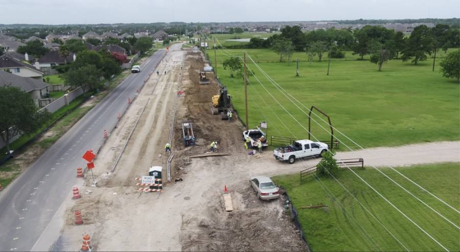 A paved surface will act as a temporary road to keep two-way traffic open while contractors put in a new sewer main and drainage improvements. (Courtesy city of League City)