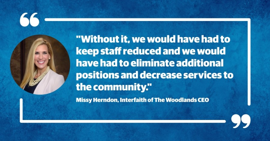 Interfaith of The Woodlands was one of hundreds of local organizations to receive a PPP loan this spring, allowing the nonprofit to reportedly retain several staff positions and maintain its operations.