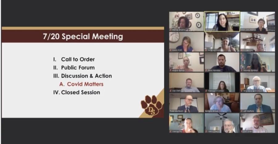 A screen shot showing a Zoom school board meeting
