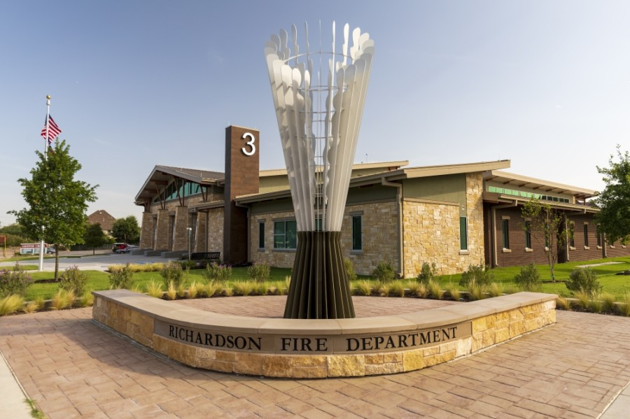 The new Fire Station 3 was part of the city's 2015 bond program. It features a public art piece that is inspired by a vintage fire hose nozzle. (Courtesy city of Richardson)