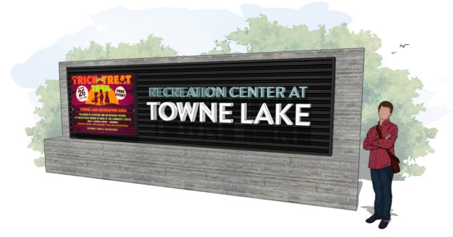 In addition to a new name, the Recreation Center at Towne Lake will also receive a new sign. (Conceptual rendering courtesy city of McKinney)