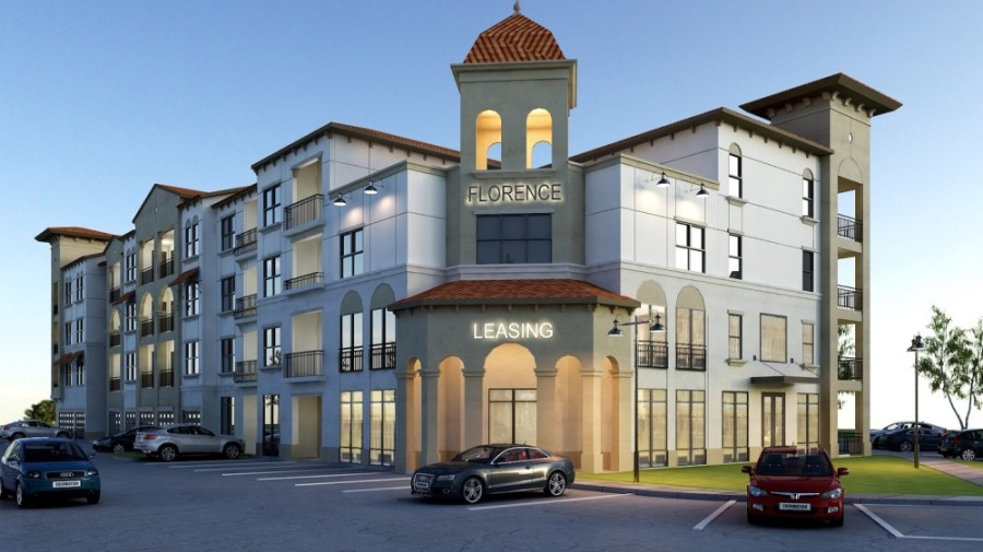 Florence, a modern, Mediterranean, mixed-use community, is underway. (Conceptual rendering courtesy Everest Development)