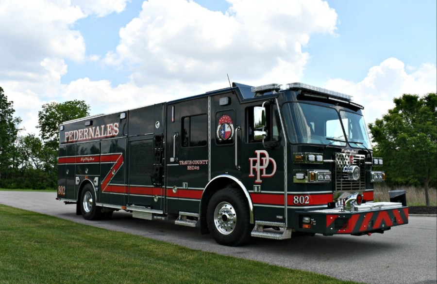 E802 is a new fire engine for the Pedernales Fire Department. (Courtesy Pedernales Fire Department)