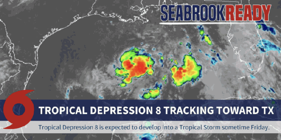 Current models project the storm will track south of Seabrook. (Courtesy City of Seabrook)