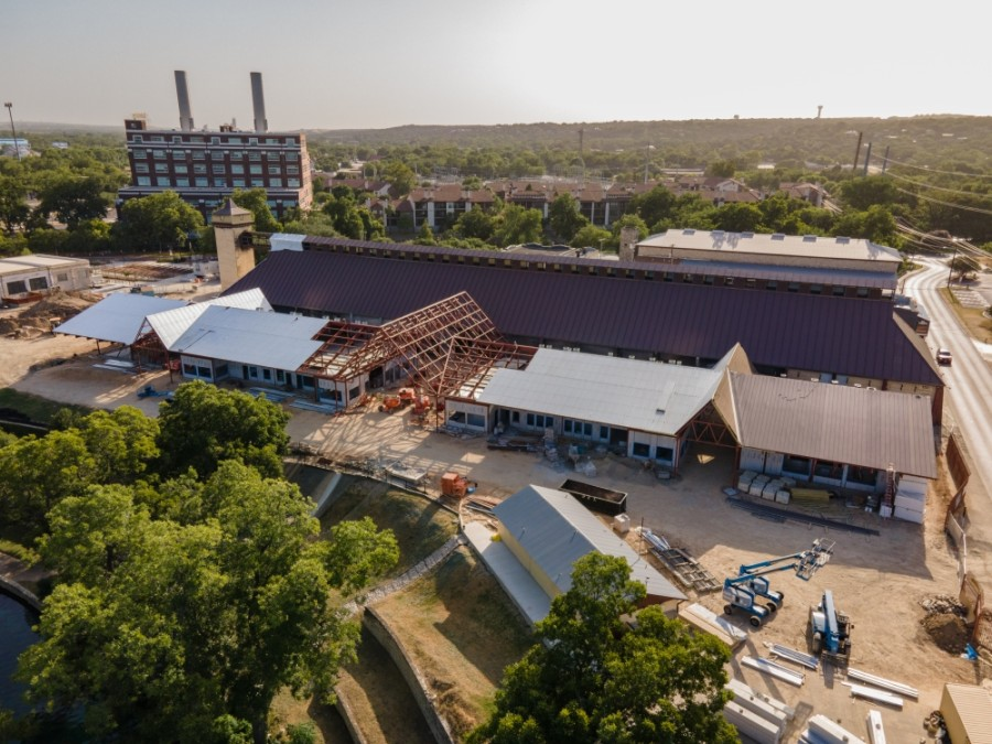The new Marktplatz building is set to be completed this fall. (Warren Brown/Community Impact Newspaper)