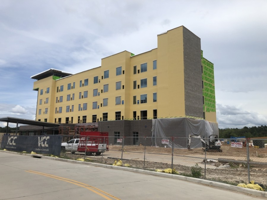 A Hyatt House Hotel in Metropark Square is more than half complete. (Andrew Christman/Community Impact Newspaper)