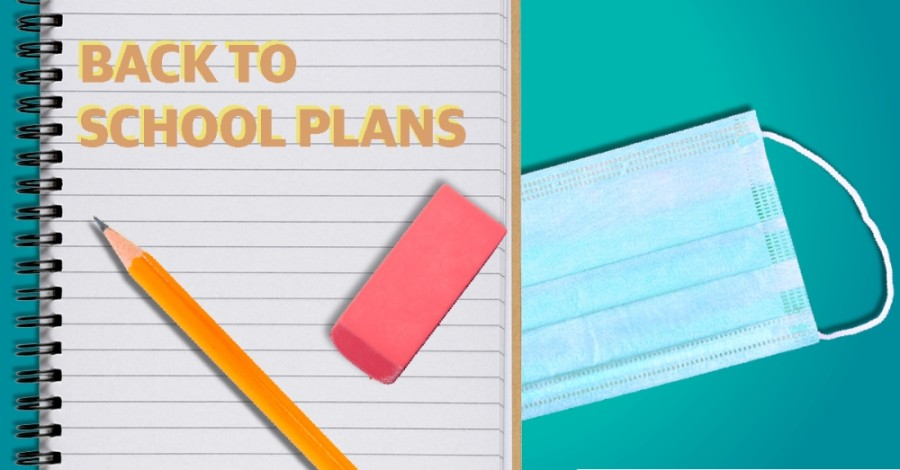 back to school plans, paper and pencil and mask