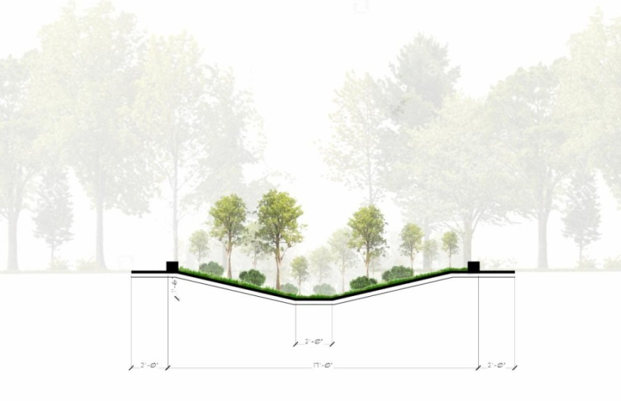 A swale provides additional stormwater drainage as well as a place to plant new trees. (Illustration courtesy city of Houston)