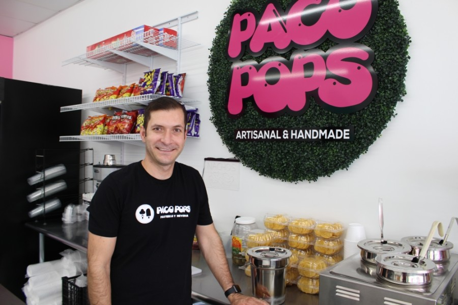 Co-owner Francisco Sanchez opened Paco Pops in April 2019. (Kelly Schafler/Community Impact Newspaper)