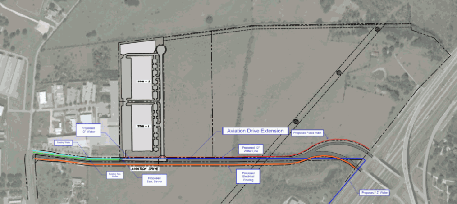 Road and utility alignments are shown for preliminary planning purposes only. Final road geometry and utility locations will be determined during final design, city staff said. (Courtesy city of Georgetown)