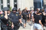 Houston Police officers wearing helmets