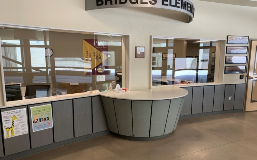 The installation of plexiglass in schools' front offices, such as at Bridges Elementary School, is among the mitigation strategies Higley USD is using to prevent the spread of the coronavirus. (Courtesy Higley USD)
