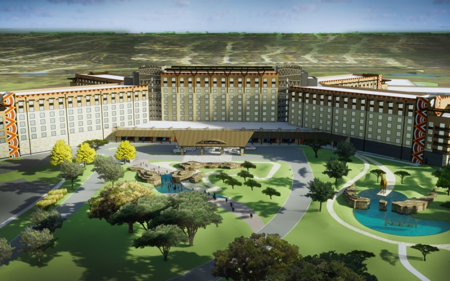 The 350-acre resort complex includes a 223,000 square-foot water park, five restaurants, a hotel and a convention center space. (Rendering courtesy Kalahari Resorts & Conventions)