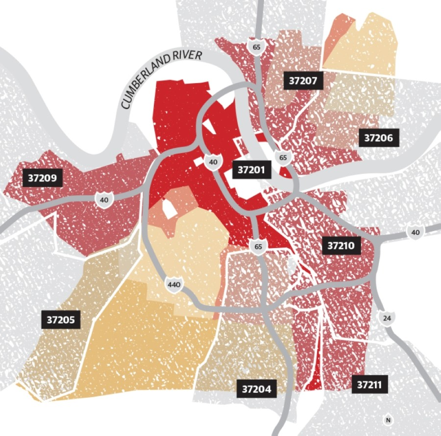 A digitized map of Nashville released by the Digital Scholarship Lab at the University of Richmond shows that the HOLC classified neighborhoods into four categories that were used to determine which individuals would receive home loans—a process called redlining. (University of Richmond/Community Impact Newspaper)