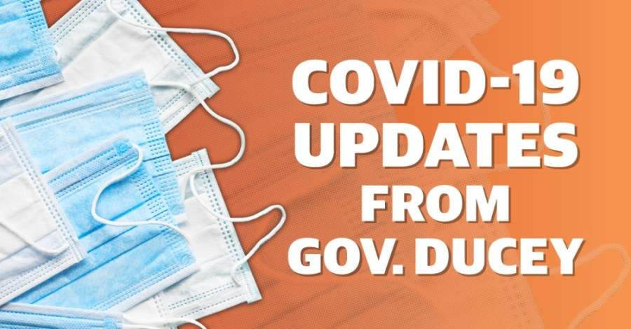 "Gov. Doug Ducey said Arizona's COVID-19 metrics are ""heading in the right direction"" during a press conference July 30. (Community Impact staff)"