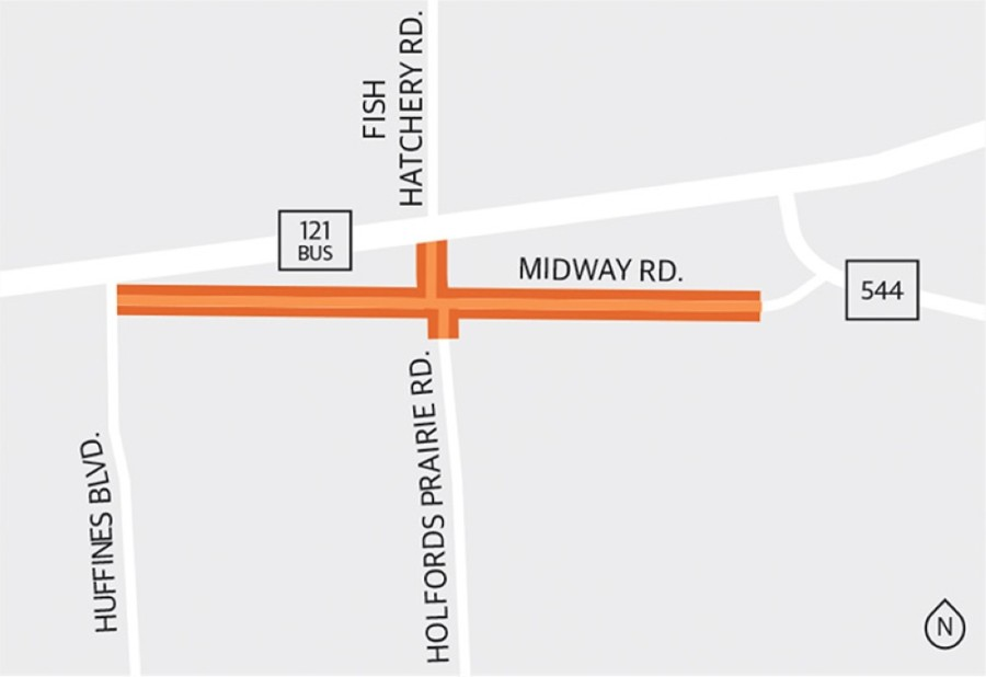 From July-November, construction is expected to take place primarily on the north side of Midway Road from Lewisville Fire Station No. 6 to Holfords Prairie intersection. (Tobi Carter/Community Impact Newspaper)