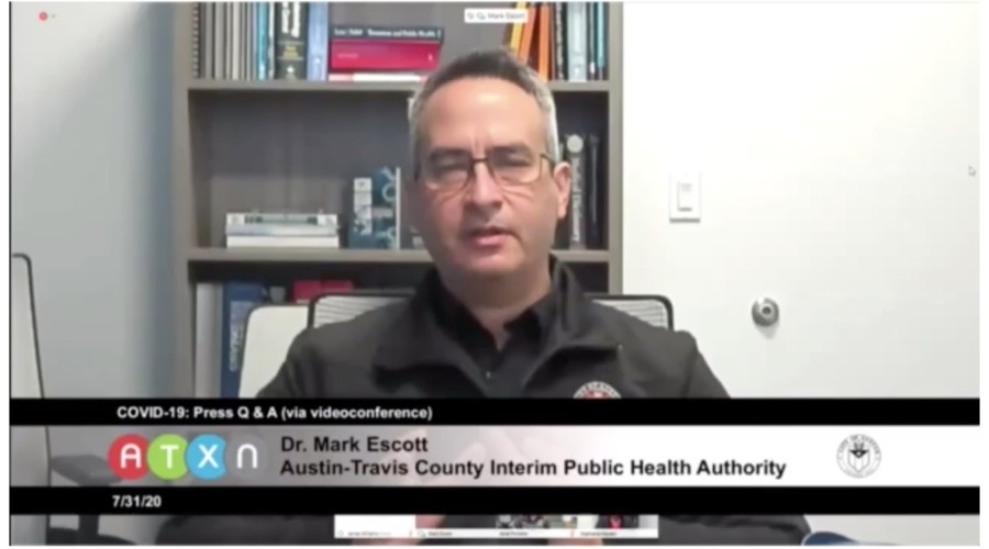 Dr. Mark Escott, interim Austin-Travis County health authority, spoke at a news conference July 31. (Courtesy Austin Public Health)