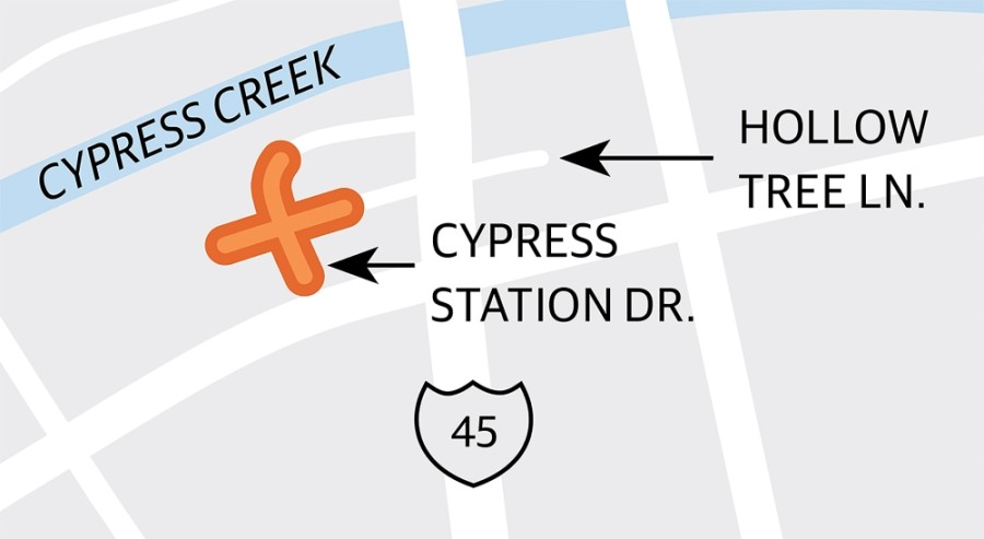 A new traffic signal at Cypress Station Drive and Hollow Tree Lane is still on hold, pending the resolution of utility conflicts. (Graphic by Ronald Winters/Community Impact Newspaper)