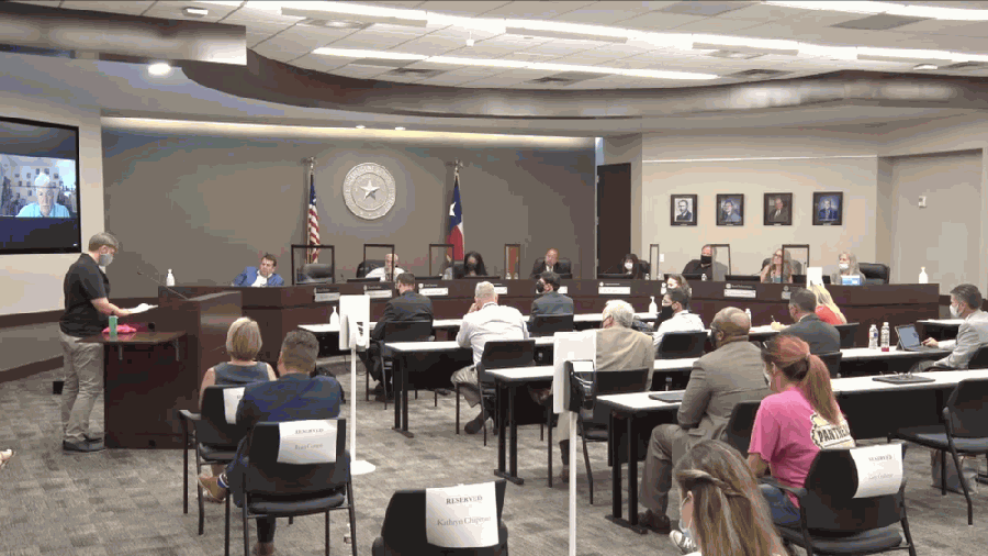 Trustees and district officials met for their first in-person board meeting in several months on Aug. 3. (Screenshot courtesy Texan Live)